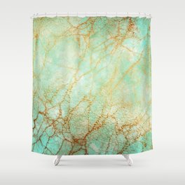 Marble effect blue and gold Shower Curtain