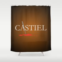 castiel Shower Curtains featuring Castiel by Manny Peters Art & Design