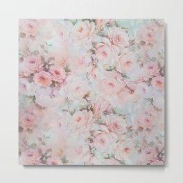 Vintage romantic blush pink teal bohemian roses floral Metal Print