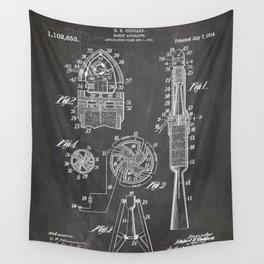 Rocket Ship Patent - Nasa Rocketship Art - Black Chalkboard Wall Tapestry