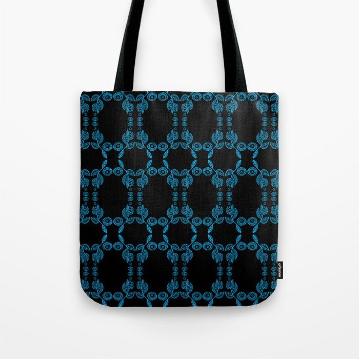 Hand drawn Seed Pods Bright Blue on Black Tote Bag