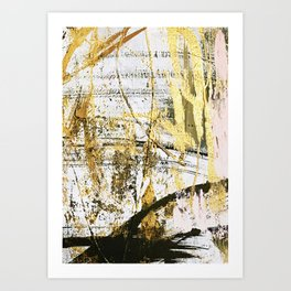 Armor [11]: a bold, elegant abstract mixed media piece in gold pink black and white Art Print