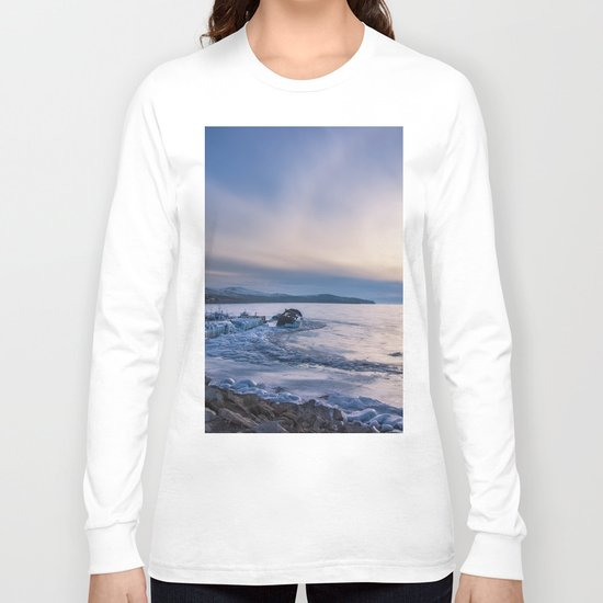 Abandoned ship at frozen wharf Long Sleeve T-shirt