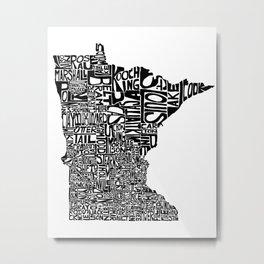 Typographic Minnesota Metal Print