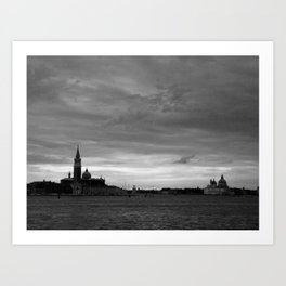 Venice laguna at sundown in black and white Art Print