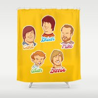 carl sagan Shower Curtains featuring Alan & Dennis & Brian & Mike & Carl by dellydel