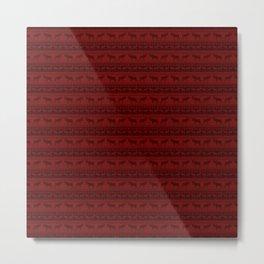 Warn Out | Dark Red Christmas Moose Print Metal Print