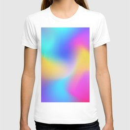 Holographic Iridescence Colorful Gradient Abstract Neon Glow Multi Colored Pattern  T-shirt