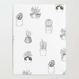 Potted Cactus Pattern Black and White Poster