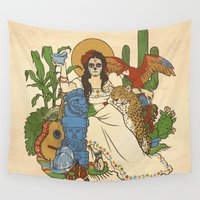 mexico Wall Tapestries featuring Mexico by Anne Kelley