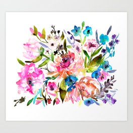 WATERCOLOUR PEONY AND ROSES Art Print