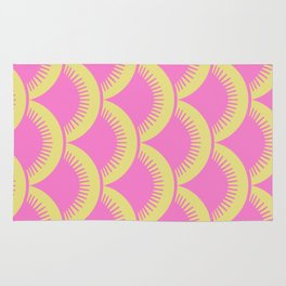 Japanese Fan Pattern Pink and Chartreuse Rug