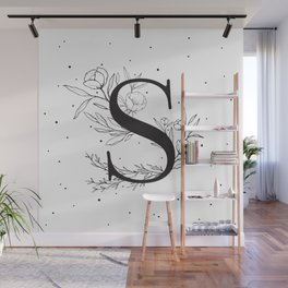 Black Letter S Monogram / Initial Botanical Illustration Wall Mural