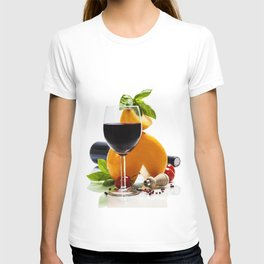 Wine, cheese and italian ingredients over white T-shirt