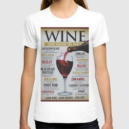 Vintage Wines from around the world Wine Advertisement Wall Art T-shirt