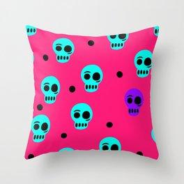 Tara White Studio Skull Logo Colorful Pattern Art Pop Print Throw Pillow