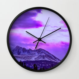 Chugach Mountains in Purple Wall Clock