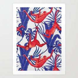 red monkey blue leaves pattern Art Print