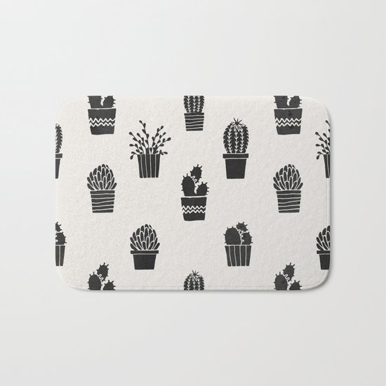 Southwestern Stamped Potted Cactus + Succulents Bath Mat