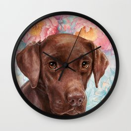 Flowers and Chocolate (chocolate lab dog watercolor portrait painting) Wall Clock