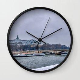 Snowfall over Paris Wall Clock