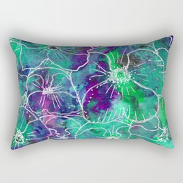 Watercolor Violet and Aqua Pansy Floral Pattern Rectangular Pillow