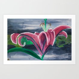 Purple Lily on Green Art Print
