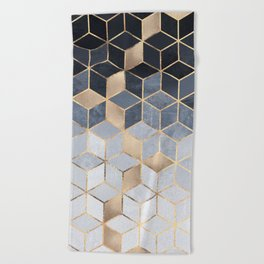 Soft Blue Gradient Cubes Beach Towel