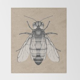 Bee pencil drawing Throw Blanket