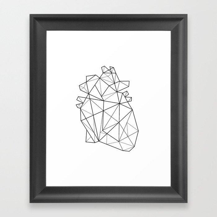 Origami Heart Framed Art Print