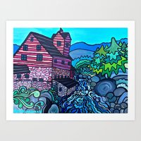 MILL ON THE RIVER Art Print