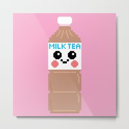 Happy Pixel Milk Tea Metal Print