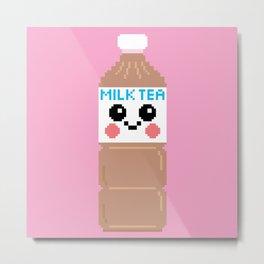 Happy Pixel Milk Tea Metal Print