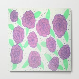 Purple Rose Pattern Metal Print