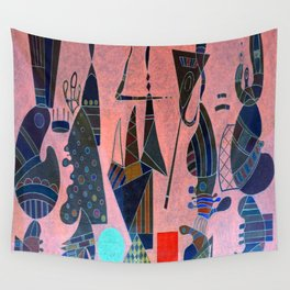 Wassily Kandinsky Forms on Pink Wall Tapestry