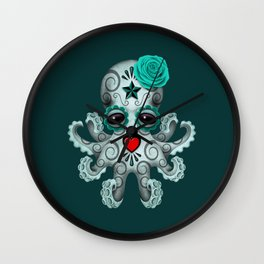 Teal Blue Day of the Dead Sugar Skull Baby Octopus Wall Clock