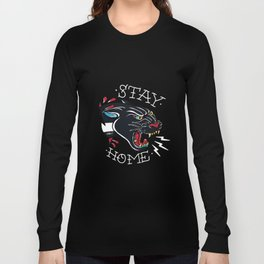 Stay Home Panther Tattoo Long Sleeve T-shirt