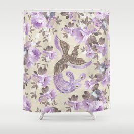 Phoenix Bird with watercolor flowers Shower Curtain