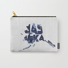 Alaska Typographic Flag Map Carry-All Pouch