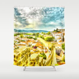 Obidos, small and authentic fortified town in Portugal Shower Curtain