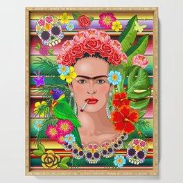 Frida Kahlo Floral Exotic Portrait Serving Tray