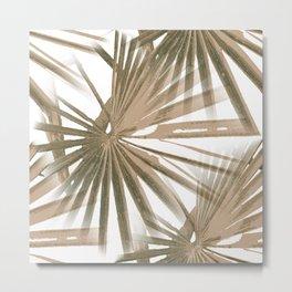 Brown on White Tropical Vibes Beach Palmtree Vector Metal Print