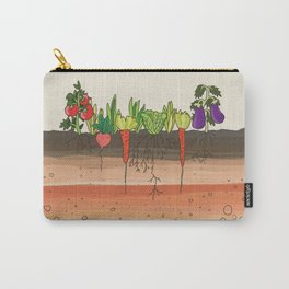 Earth soil layers vegetables garden cute educational illustration kitchen decor print Carry-All Pouch