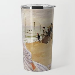 On the Beach at Trouville by Claude Monet Travel Mug