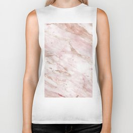 Pink marble - rose gold accents Biker Tank