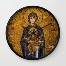 Mosaic Mary and Jesus Wall Clock