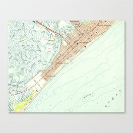 Vintage Map of Wildwood NJ (1955) Canvas Print