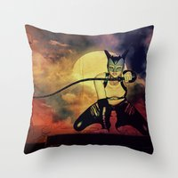catwoman Throw Pillows featuring catwoman by Ancello