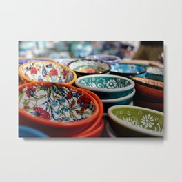 Santorini Bowls Metal Print