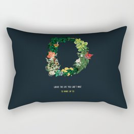 Dream Floral Motivational Quote Rectangular Pillow